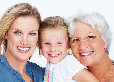Buy stock photo Closeup portrait of cheerful little girl having fun with mother and grandmother