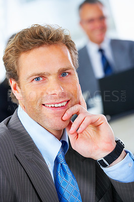 Buy stock photo Mature business man portrait sitting in a meeting