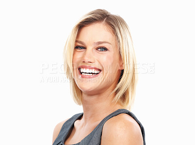 Buy stock photo Closeup of cheerful pretty business woman laughing on white background