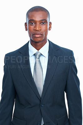 Buy stock photo Portrait of young African American business man with confidence over white background