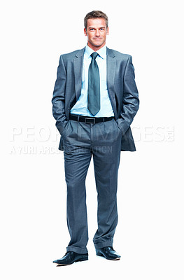 Buy stock photo Full length of smart middle aged business man on white background