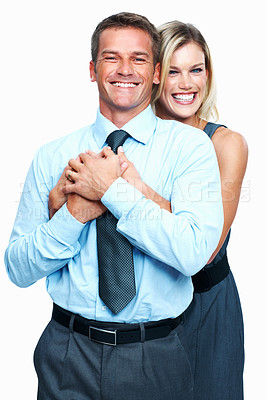 Buy stock photo Portrait of happy corporate couple smiling together on white background