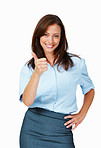 Business woman giving okay gesture
