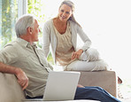 Smiling couple with laptop on couch at home