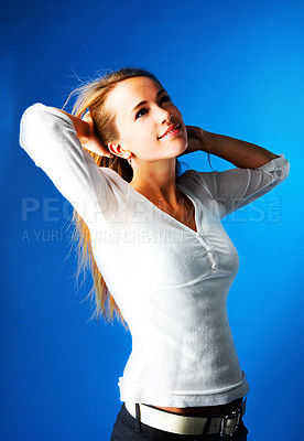 Buy stock photo This is a very beautiful professional model. The blue background makes it possible to add another background.