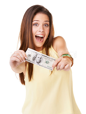 Buy stock photo Studio shot of ana attractive young woman  holding up a banknote isolated on white