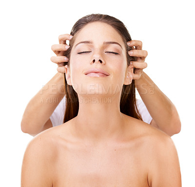 Buy stock photo Beautiful woman looking upwards while someone is giving her a head massage