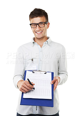 Buy stock photo A portrait of a man with hipster glasses holding a clipboard and smiling with a white background