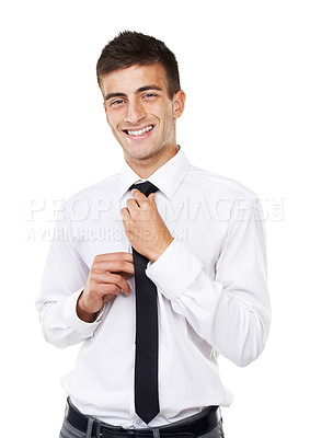 Buy stock photo Portrait of a smiling business man with a white background