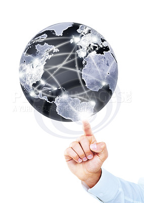 Buy stock photo A hand touching a digital world