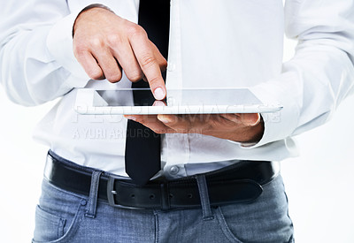 Buy stock photo Close up of a man touching his touch screen