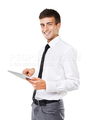 Buy stock photo Portrait of a smiling man holding a touchscreen with a white background