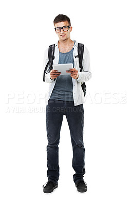 Buy stock photo Full length portrait of a young man holding a digital tablet isolated on white