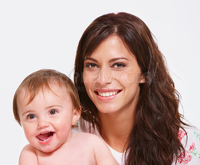 Buy stock photo Close up studio portrait of a mother holding her baby isolated on white