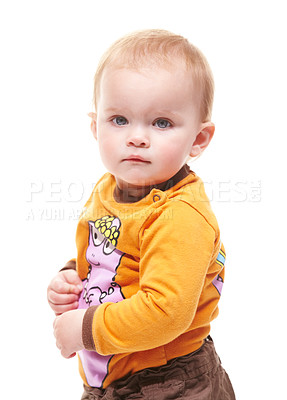 Buy stock photo Studio shot of a toddler isolated on white