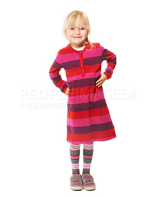 Buy stock photo Full-length studio portrait of a cute little blonde girl wearing a bright dress