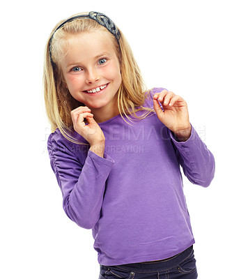 Buy stock photo Sweet little blonde girl posing happily against a white background