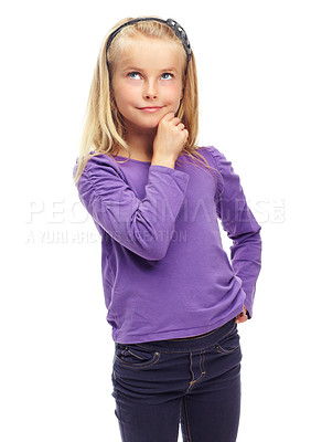 Buy stock photo Sweet little blonde girl posing thoughtfully against a white background
