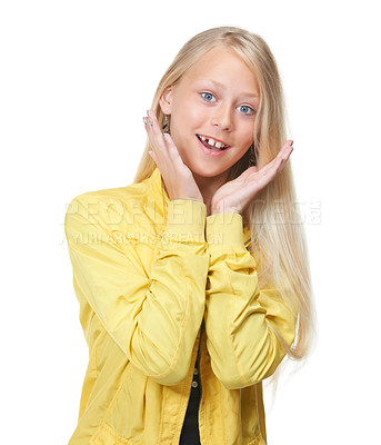 Buy stock photo Sweet young girl posing against a white background