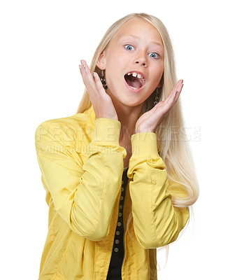 Buy stock photo Portrait of a trendy young girl looking surprised against a white background