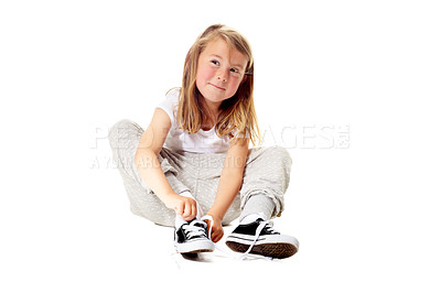 Buy stock photo Shot of a cute little girl isolated on white