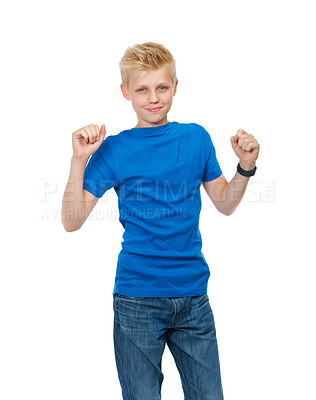 Buy stock photo Cropped studio portrait of a blond teenage boy standing against a white background