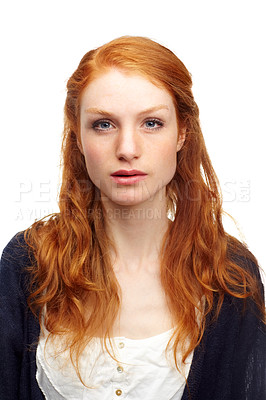 Buy stock photo Studio portrait of an attractive redhead isolated on white