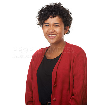 Buy stock photo Portrait of a gorgeous young woman smiling