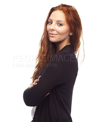 Buy stock photo Portrait of a red head standing with arms corssed