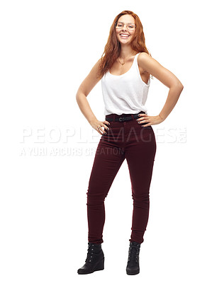 Buy stock photo A trendy young woman posing with hands on her hips
