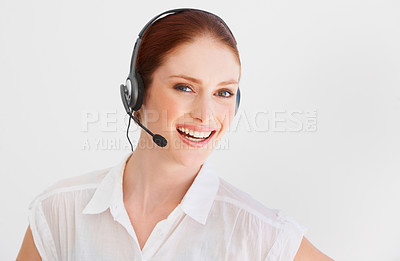 Buy stock photo A beautiful young woman with a headset