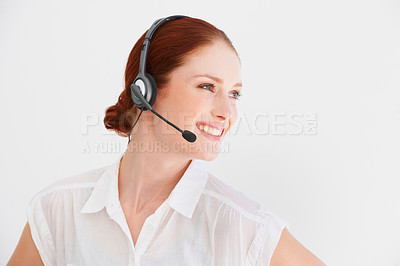 Buy stock photo Profile of a young woman with a headset