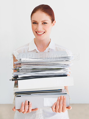 Buy stock photo A beautiful student carrying her books