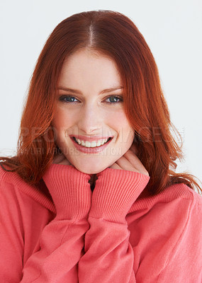 Buy stock photo Portrait of a young woman in a bright sweater