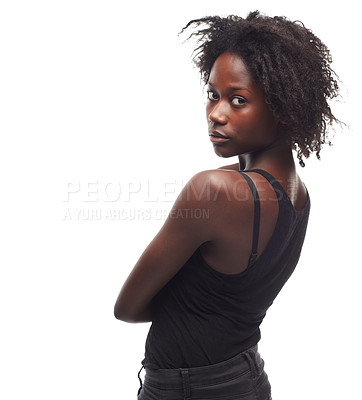 Buy stock photo Portrait of a gorgeous young woman looking over her shoulder