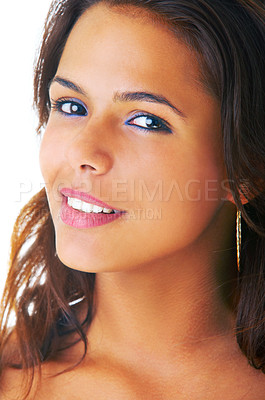 Buy stock photo Portrait of a beautiful brazilian or spanish looking woman