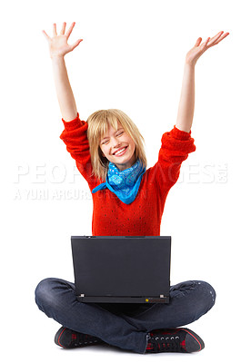 Buy stock photo A happy girl with a laptop on her lap