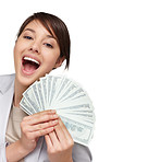 Woman holding fan of American dollars isolated on white