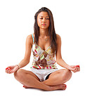 Young beautiful girl meditating