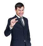 Happy business man showing a little sign , white background