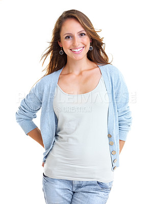 Buy stock photo Portrait of a charming young female smiling against white background