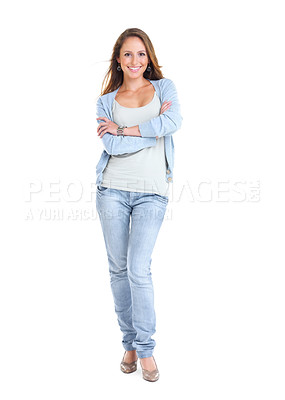 Buy stock photo Full length portrait of a happy young female standing with folded hand against white background