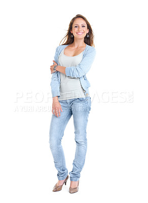 Buy stock photo Full length portrait of a beautiful young woman posing against white background