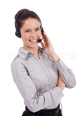 Buy stock photo Shot of a young customer service representative wearing a headset and laughing isolated on white