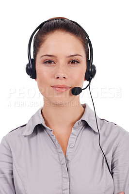 Buy stock photo Portrait of a young customer service representative wearing a headset isolated on white