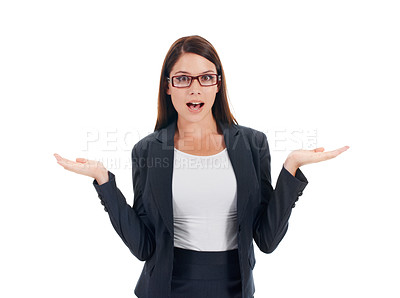 Buy stock photo Studio portrait of a young business woman shrugging her shoulders isolated on white