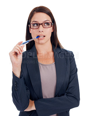 Buy stock photo Studio shot of a young businesswoman thinking isolated on white