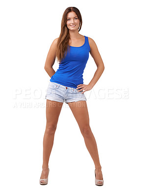 Buy stock photo Full length shot of an attractive young woman isolated on white