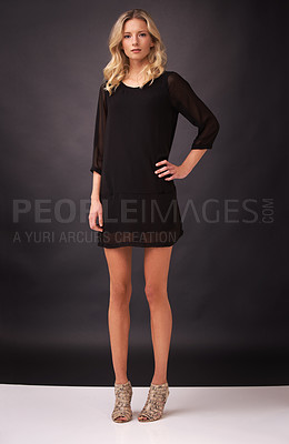 Buy stock photo A statuesque young blonde woman posing in studio