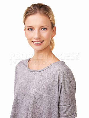 Buy stock photo A beautiful blond woman isolated on a white background
